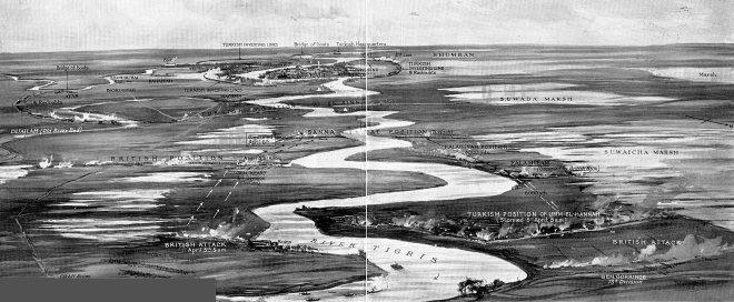 The Advance of General Gorringe's Force Towards Beleaguered Kut (Viewed as if from the air and looking towards Kut from General Gorringe's position) The Sphere: April 15th, 1916