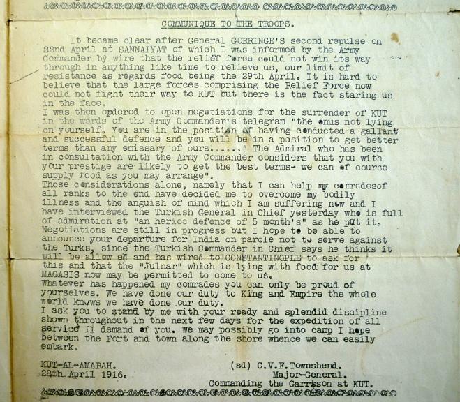 General Townhend's Communiqué to The Troops, 28th April, 1916 Royal Norfolk Regimental Museum