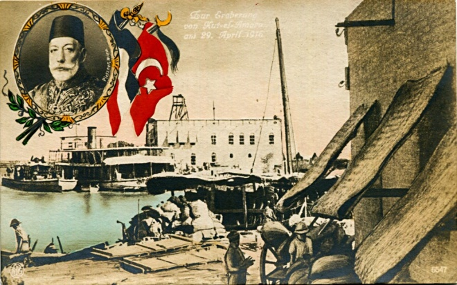 Turkish-German Postcard Marking the British Surrender at Kut Beside the portait of the Turkish Sultan Mehmed V, an ally of Kaiser Wilhelm II, together with the German and Turkish flags, is an inscription in German, Fur Erborung von Kut-el-Amara am 29, April 1916, which in English reads, For the Conquest of Kut al Amara on 29th April 1916.
