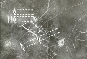 Aerial photograph showing Y Sap crater and Lochnagar crater to north and southeast of La Boisselle respectively.  The lines of attack of the Tyneside Scottish battalions have been overlaid in white (Tyneside Scottish).