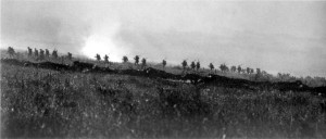 The Tyneside Irish Brigade advancing from the Tara-Usna Line to La Boisselle, 1 July 1916 (IWM).