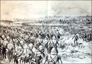 Battle of Atbara : The British Advance on the Dervish Zariba Note the new British uniform of Khaki and Solar Topee