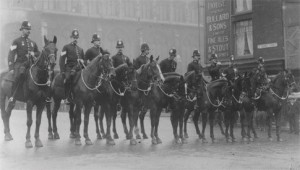 Norwich City Police, Mounted Branch, during the visit of King Edward VII in 1909 (Norfolk Constabulary).