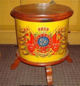 The Ceremonial Drum of the 12th Sudanese Regiment It bears the flags of Egypt and the Regiment's battle honours including 'Firket' public domain image