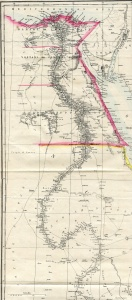 The River Nile between the Mediterranean Sea and Khartoum from a map of drawn by Edward Weller, FRGS for the Weekly Dispatch, 1858