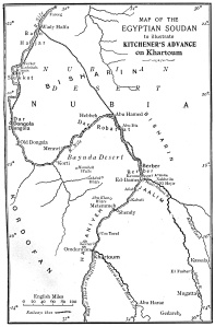 Map of Kitchener's Advance on Khartoum from G.A. Henty, With Kitchener in the Soudan, 1903
