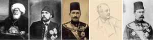 Muhammad Ali Pasha, Wali of Egypt, 1840  (commons:wikimedia) Isma'il Pasha, Khedive of Egypt, c1865  (commons:wikimedia) Abbas Hilmi II, Khedive of Egypt, c1898  (public domain) Sir Evelyn Baring, Viscount Cromer, 1898  (© National Portrait Gallery, London) Sir Herbert Kitchener, Sirdar of Egypt, c1897  (© Imperial War Museum Q 56659)