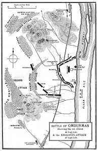 Plan of the Battle of Omdurman from G.A. Henty, With Kitchener in the Soudan, 1903