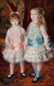 Pierre-August Renoir, Pink and Blue, 1881 : Alice is in pink on the left public domain image