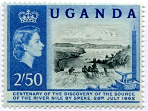 Uganda postage stamp commemorating the Centenary of the Discovery of the Source of the White Nile.  The scene depics the Ripon Falls, where the Nile disgorges from the northern end of Lake Victoria (so named by Speke).
