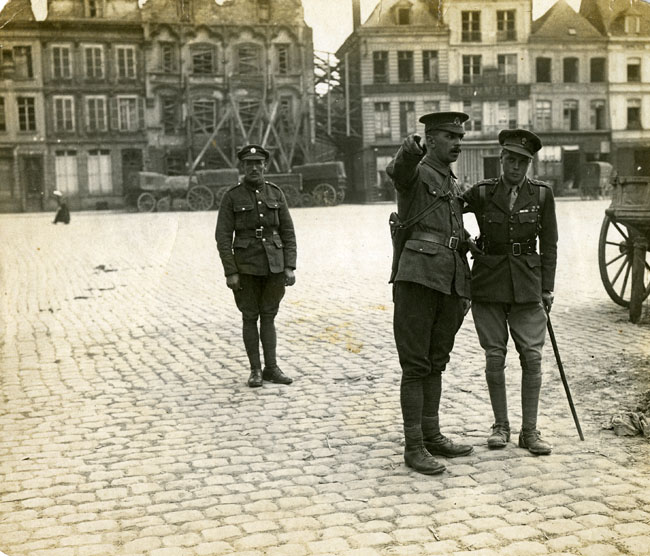 A member of the Military Police directing the Prince of Wales in Bethune, September 1916