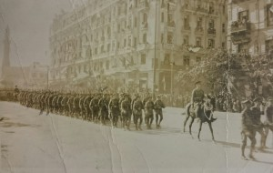 George Bindley's company seen marching past General Allenby during a parade in Cairo.