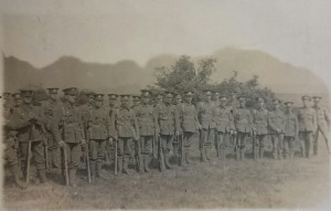 group of 1/4th Battalion Noroflk Regiment men seen stood together whilst serving in Egypt.