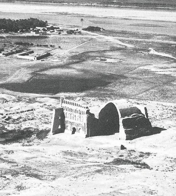 The Great Arch of Ctesiphon (Taq Kasra) from the air c 1922 The River Tigris in the background