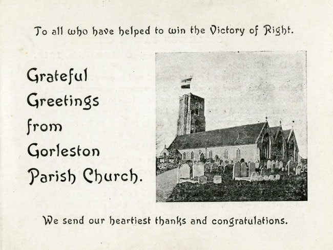 Gorleston, Christmas greeting sent during the First World War from the parish to serving soldiers