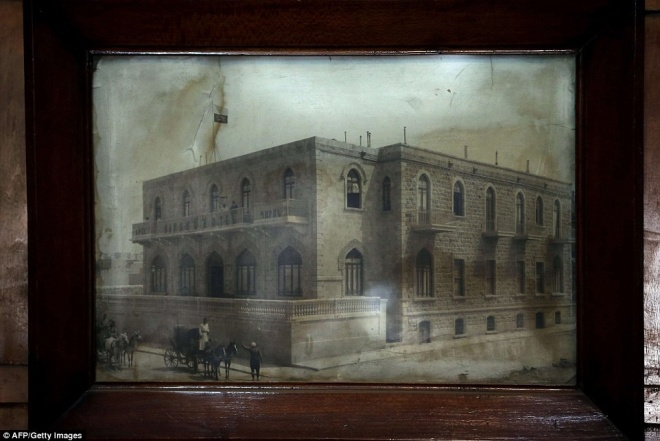 An old photograph of the Baron Hotel displayed inside the hotel shows it as it would have appeared to Lt. Col Lodge in 1916 www.dailymail.co.uk/travel/travel_news/article-2841239/Haunting-photos-oldest-hotel-Aleppo-hosted-presidents-glitterati-falling-disrepair-Syrian-line.html