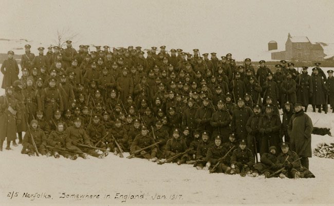 Royal Norfolk Regiment, 2/5th Battalion group 'somewhere in England' 1917