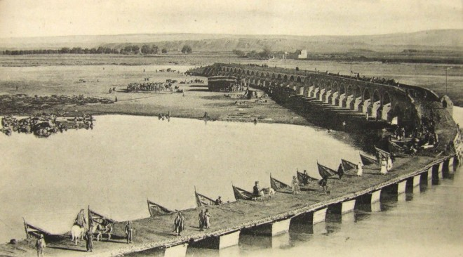The bridge across the Tigris between Mosul and ancient Nineveh, c1910