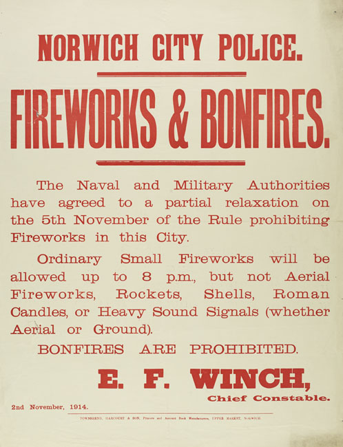 WW1 Regulations regarding bonfires and fireworks