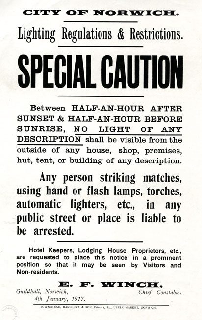 Norwich, Notice of Lighting Restictions, 1917.