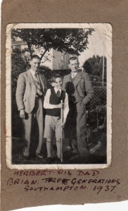 Herbert many years later on holiday in 1937, on the RHS with his eldest son (also called Herbert) on the LHS and his grandson (Brian).