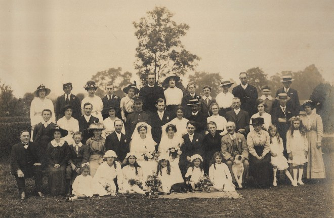 A family wedding from 1916. showing Arthur & George's two sisters at their joint wedding, present are their four other brothers and their parents Robert and Elizabeth. George and Arthur are however missing from the celebration as it is taken when they were on the Somme.