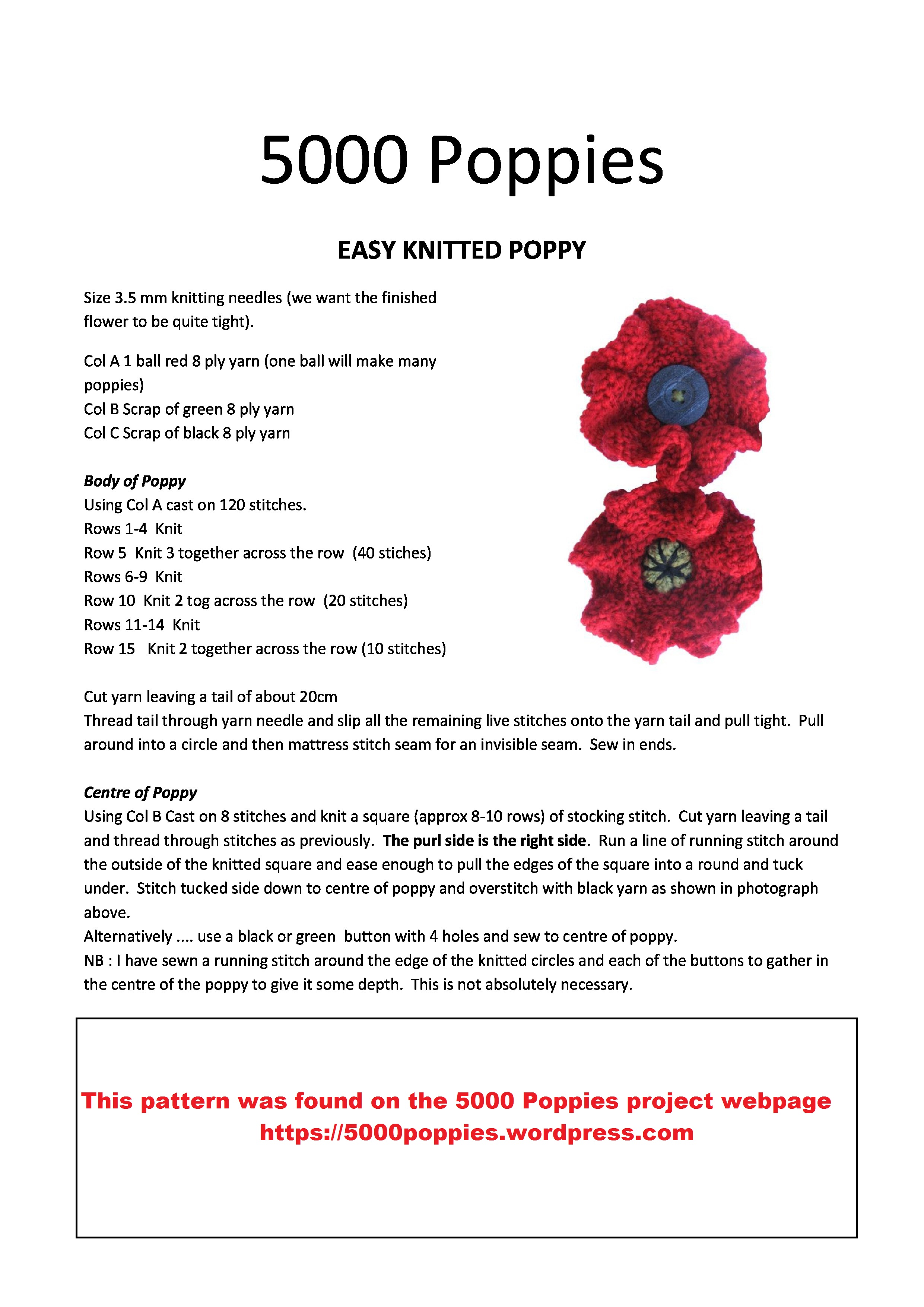About the 2018 poppy project norfolk in world war one knitted and crocheted poppies knitting patterns pattern 1 mightylinksfo